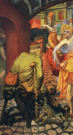 #OttoDix, Weimar Berlin, 1928.  Dix was a scarey guy.  Showing the post-war decadence that made many of Hitler's obscenities easier for the non-reasoning public to swallow.