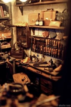 Incredible detail in miniature!!! Studio Soo :: Leather Workroom.