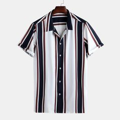 Mens Summer Hit Color Striped Printed Turn Down Collar Short Sleeve Loose Casual Shirts Best Online - NewChic Loose Shirts, Henley Shirts, Casual Shirts For Men, Men Casual, Camisa Floral, Mens Trends, Color Stripes, Shirt Style, Shirt Designs