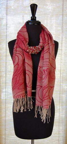 embellished pashmina necklace scarf #red #holiday #christmas