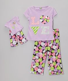 Purple 'Love' Pajama Set & Doll Outfit - Girls by Dollie & Me #zulily #zulilyfinds