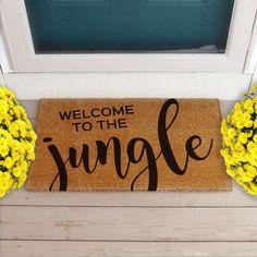 Welcome To The Jungle Coir Doormat Decorations. - Doormats - Ideas of Doormats Porch Mat, Front Porch, Jungle Door, Family Tree Picture Frames, Outdoor Acrylic Paint, Adirondack Furniture, Front Door Mats, Coir Doormat, Welcome To The Jungle