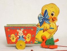 1957 Fisher Price Walking Duck Pull Toy. My dad had this and I played with it because my Granny kept it for his kids