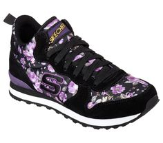 Funky, floral fun retro style blooms in the SKECHERS Originals OG 85 - Hollywood Rose shoe. Soft suede upper in a lace up classic high top hidden wedge sporty jogging sneaker with stitching, overlay. Floral Sneakers, Suede Sneakers, Sketchers Shoes Women, Skechers Elite, Shoes Skechers, Couture, Anton, Womens High Heels, Hollywood