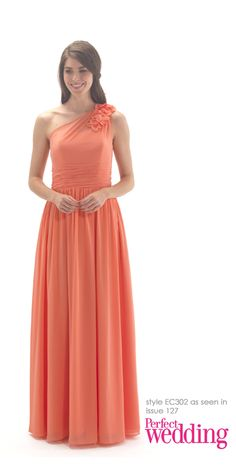 A flowing chiffon one shoulder full length dress with a ruched band at the waist and chiffon flowers on the shoulder One Shoulder Bridesmaid Dresses, Wedding Bridesmaid Dresses, Prom Dresses, Formal Dresses, Maid Of Honour Dresses, Maid Of Honor, Chiffon Flowers, Perfect Wedding, Flower Girl Dresses