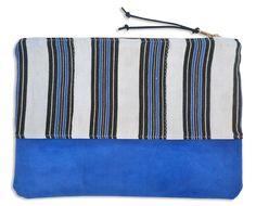 Stripe & Suede Large Zippered Pouch - Den & Delve Shop