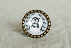 Customisable Letter, Adjustable Ring 3/4 inch (18mm), $15.00