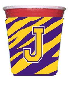 Tiger Stripe - Purple Gold Letter J Monogram Initial Red Solo Cup Beverage Insulator Hugger