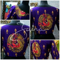 Beautiful royal blue color designer bridal blouse with swan design hand embroidery thread work from Zaina. 17 July 2017