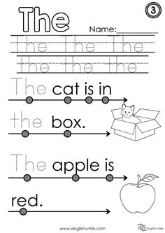 """The learn to read worksheets are an extension of the Dolch Pre-Primer Sight Word pack. Each worksheet focuses on one word, and once that word is learned, it is dotted out on all future worksheets. The focus word of this worksheet is the word """"the"""". Learning English For Kids, English Worksheets For Kids, English Lessons For Kids, School Worksheets, Phonics Reading, Reading Comprehension Worksheets, Kindergarten Reading, Homeschool Kindergarten, Homeschooling"""