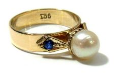 Vintage Pearl and Sapphires Ring, 9K Gold, 6 mm Pearl, 5 mm Gold Band, Art Deco Pearl Ring