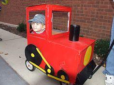 Cardboard choo-choo #train on a wagon for #Halloween.  She got tons of compliments on her #costume!