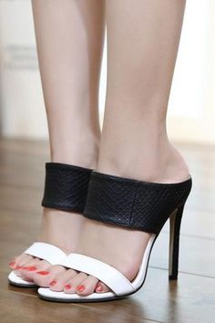 954fc1ef9dd Black and White Thick Straps High Heel Sandals  shoes  shoesaddict   stiletto  heels