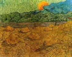 Paysage du soir avec Moon Rising, huile sur toile de Vincent Van Gogh (1853-1890, Netherlands)