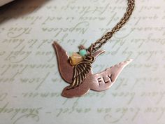 Bird Necklace  Hand Stamped  Metal Stamping  by adieslovelies