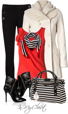 """Black and White Stripes"" by in-my-closet on Polyvore"
