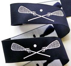 "Navy and White LACROSSE Jacquard Ribbon - 1"" on Etsy, $3.95"