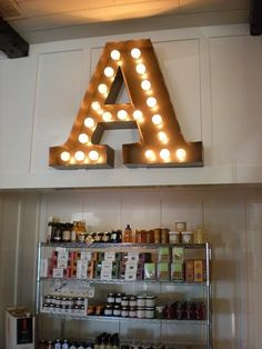 For playroom...Big letter A !!! Bebe'!!! Love this big letter in lights!!!