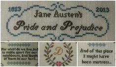 Detail of Pride & Prejudice Jane Austen sampler cross stitch point de croix. willowtreestitcher.blogspot.com