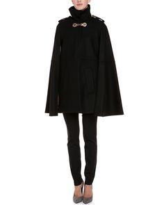 Versace Black Wool Cape Coat
