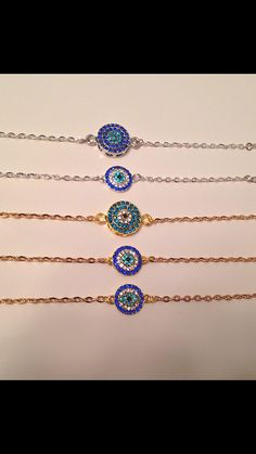 Round Rhinestone Evil Eye Bracelet on Etsy, $9.43