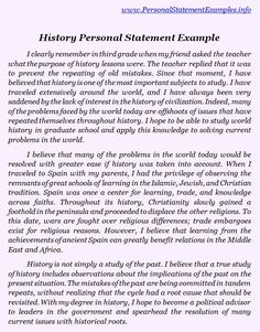 Statement of Purpose (page 1) Personal History Statement