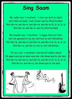 My vader was 'n musikant Afrikaans Quotes, Rhymes Songs, Education Humor, African History, Pre School, Success Quotes, Good To Know, Kids Learning, Book Lovers