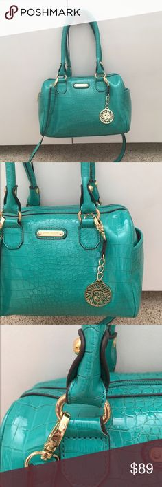 Anne Klein teal satchel dome bag crossbody Anne Klein Crossbody strap included teal color patent leather snakeskin with gold hardware in excellent condition, never carried. Absolutely beautiful bag. Trades welcome on this piece 7832 Anne Klein Bags Satchels