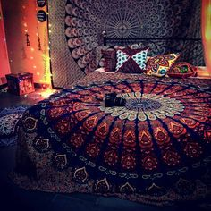This Mandala Tapestry can be used as Bedspreads, throws, hangings in Beach and Rooms. This Mandala Tapestry will spread love and Peace. The Beauitiful Awakening Piece will spread Love and peace Dream Rooms, Dream Bedroom, Tapestry Bedroom, Tapestry Wall, Hanging Tapestry, Hippie Bedroom Decor, Gothic Bedroom, Hippy Room, Chill Room