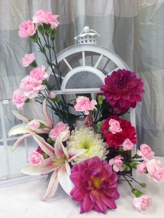 White floral lantern.  By Adorna Design, at TerrAdorna.