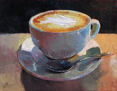 coffee painting Cappuccino Italiano III by Christopher Clark Wine Painting, Coffee Painting, Christopher Clark, Painting Inspiration, Art Inspo, Wow Art, Coffee Art, Still Life, Colorful Backgrounds