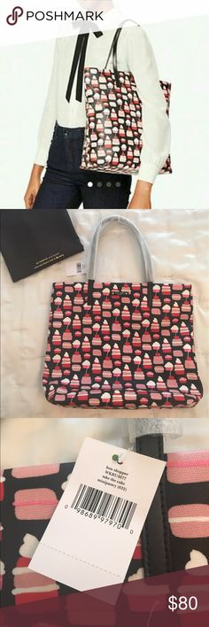 """NWT Kate Spade Bon Shopper tote NWT Kate Spade Bon Shopper take the cake mini pastry tote.  Mini pastry multicolor print vinyl with black trim.  Open top and fabric lining with two inside slip pockets.  Handles drop approx 8"""".  Measures approx  16""""top/12""""bottom x 13"""" (H) x 5"""" (W).  Includes original dust bag.  Style: WKRU4077 kate spade Bags Totes"""