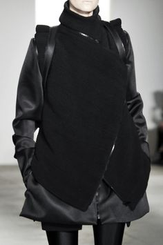 Unisex Tailoring - silky black jacket & vest; fashion  details // RAD by Rad Hourani Fall 2010