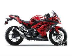 Decal Sticker Modifikasi Kawasaki Ninja 250 Fi Merah - Grafitti Red Black