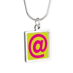 pop art at-sign Silver Necklace