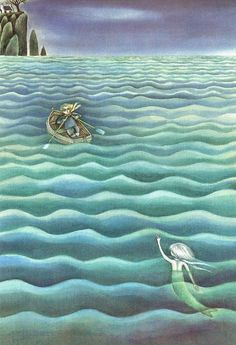 Fiona Moodie «Ein Fishermarchen» 1984. Childrens Books, Past, Waves, Outdoor, Illustrations, Amor, Angler Fish, Mermaids, Towers