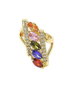 This Multicolor Cubic Zirconia & Goldtone Ring is perfect! #zulilyfinds