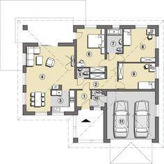 Foto © Slonecznedomy.pl Garage Plans, Soho, Future House, Planer, House Plans, Sweet Home, Floor Plans, House Design, Flooring