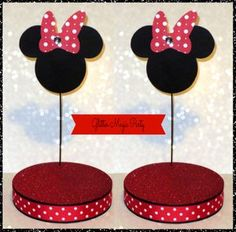 Minnie Mouse - Lollipops or Cakepops Stands - Minnie Mouse Party Decoration - Polka Dots Bow - SET OF 2 STANDS