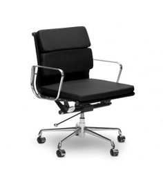 eames ribbed chair tan office. Eames Style EA217 Low Back Soft Pad Leather Office Chair - Black Ribbed Tan C