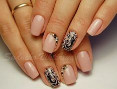 Autumn gel polish for nails, Beautiful autumn nails, Beige dress nails, Delicate beige nails, Evening dress nails, Evening nails by gel polish, Fall nail ideas, Fall nails 2016