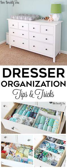 Dresser organization tips and tricks! GREAT tips and tricks for an organized dresser, especially a nursery dresser! A popular pin for baby and new parents! http://twotwentyone.net/nursery-dresser-organization/