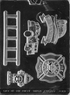 Cybrtrayd Life of the Party Firefighter Kit Ladder, Fire Truck Engine Hydrant Badge Chocolate Candy Mold in Sealed Protective Poly Bag Imprinted with Copyrighted Cybrtrayd Molding Instructions Chocolate Candy Molds, Chocolate Cupcakes, Chocolate Making, Chocolates, Firefighter Jobs, Firefighter Cakes, Fireman Hat, Candy Making Supplies, Candy Melts