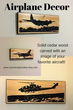 Airplane Décor.  Carved solid wood signs great for fathers day gift, birthday gift, man cave gift, or the airplane lover you know!
