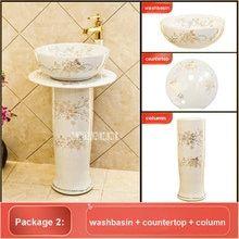 Online Shop أوروبا نمط اليدوية زهرة شكل حوض الحمام بالوعة الحمام كونترتوب السيراميك Aliexpress Mobile Pedestal Basin Wash Basin Basin