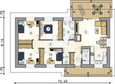 Rzut parteru - projekt Alberto Atrium, Interior And Exterior, My House, House Plans, Floor Plans, How To Plan, Building, House Ideas, Places