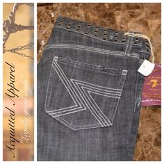 """7 For All Mankind Flynt Limited Ed. Jeans 31.5 NWT 7 For All Mankind Flynt Limited Edition Riveted Hole Jeans Size 28 Super Cool Black Grey Wash 98% cotton 2% Polyurethene Approximate 31.5"""" inseam and 8.5"""" rise Item Location Bin 6 7 for all Mankind Jeans Boot Cut"""