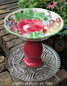 Centerpiece Fruit Bowl Birdbath Birdfeeder Pedestal Stand - As Featured In Valley Homes & Style Magazine. $45.00, via Etsy.