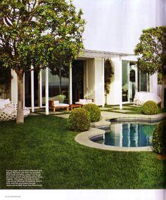 Geometric-modern house w/ ornate pool; Ames Ingham