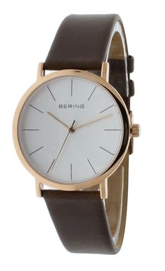 BERING 13436-564 Classic Unisex Watch Brown Leather Strap Rose Gold Case